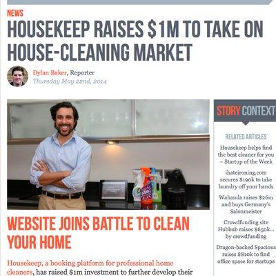 Tech City News - Housekeep raises $1m to take on house-cleaning market