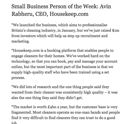 The Independent - Small Business Person of the week