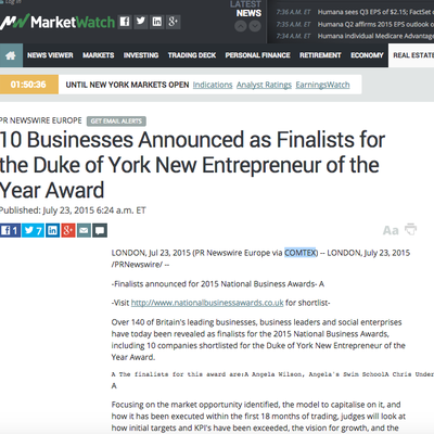Market Watch - National Business Awards Finalist