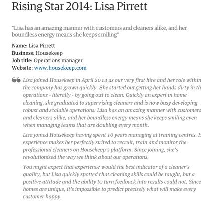 Rising Star 2014: Lisa Pirrett