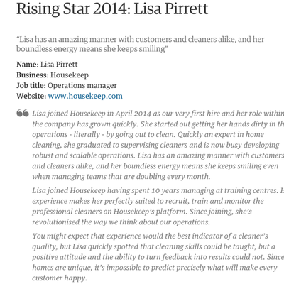 Rising Star 2014: Lisa Pirrett