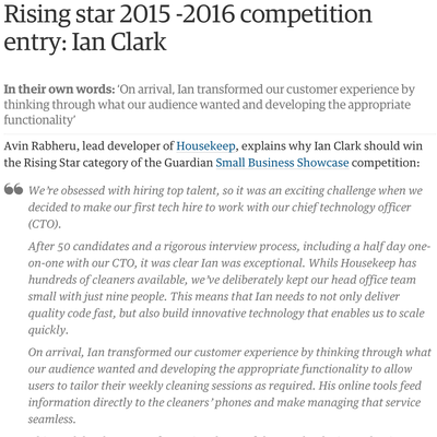 The Guardian Small Business Showcase - Rising star 2015-2016 competition entry: Ian Clark