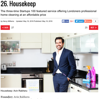 Startups 100 2016 - Housekeep at #26
