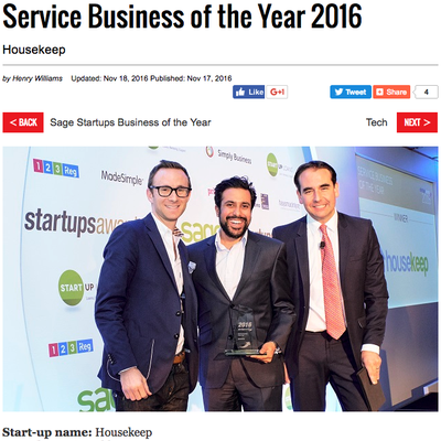 Startups Awards: Service Business of the Year 2016