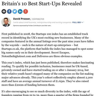 Britain's 10 Best Start-Ups Revealed
