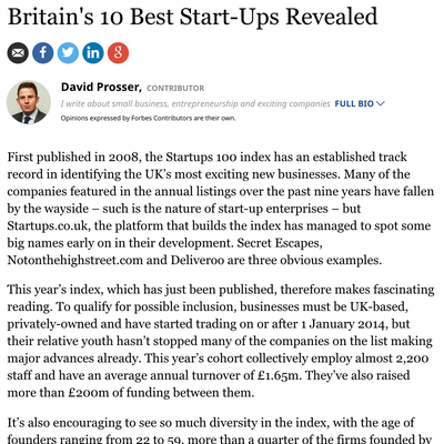 Britain's 10 Best Start-Ups Revealed