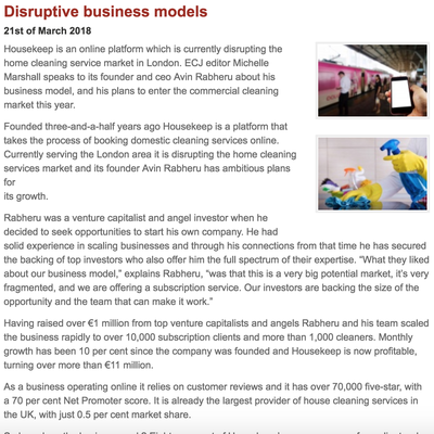 European Cleaning Journal: Disruptive Business Models
