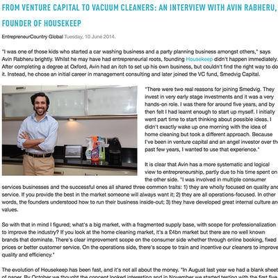 EntrepreneurCountry Global: From Venture Capital to Vacuum Cleaners: an Interview with Avin Rabheru, Founder of Housekeep