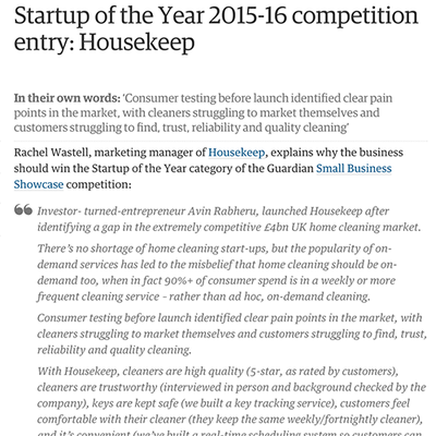 Startup of the Year 2015-16 competition entry: Housekeep