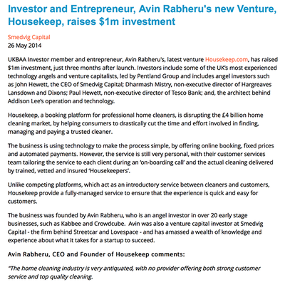 UKBAA: Investor and Entrepreneur, Avin Rabheru's new Venture, Housekeep, raises $1m investment