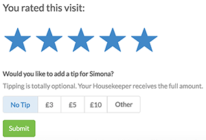 New feature: You can now tip your cleaner